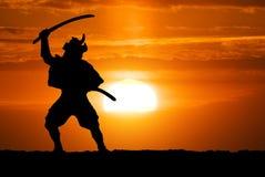 Samurai en puesta del sol Imágenes de archivo libres de regalías