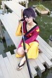 samurai för cosplayerkvinnligjapan fotografering för bildbyråer