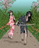 Samurai and Fine Lady. Samurai holding katana and fine japanese lady passing by - nature background Stock Photos