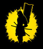 Samurai with flag graphic. Samurai standing designed on grunge frame background graphic vector Royalty Free Stock Photography