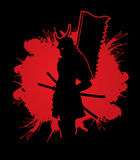 Samurai with flag graphic. Samurai standing designed on splatter blood background graphic vector Stock Image