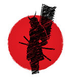 Samurai with flag graphic. Samurai standing designed on sunrise background graphic vector Stock Photo