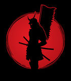 Samurai with flag graphic. Samurai standing designed on sunset background graphic vector Royalty Free Stock Photography