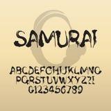Samurai, fonte della spazzola del giapponese dell'estratto e numeri Fotografia Stock