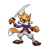 Samurai Fox Mascot. Vector illustration of a samurai fox mascot Stock Photos