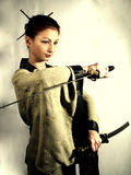 samurai för 3 flicka Arkivfoto