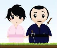 A Samurai and a Geisha Royalty Free Stock Photography