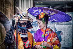Samurai and geisha. Moscow, Russia - 4 November, 2016: IV citywide action festival  `Night of the Arts`. Samurai and geisha in tradition japanese costumes Stock Photography