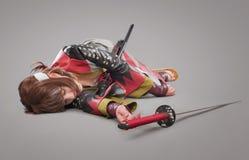 Samurai giapponese con la spada di katana Fotografia Stock