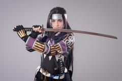 Samurai giapponese con la spada di katana Immagini Stock Libere da Diritti