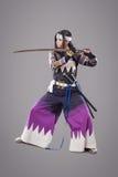 Samurai giapponese con la spada di katana Fotografia Stock Libera da Diritti