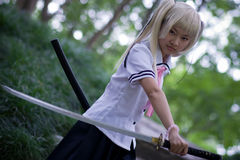 Samurai girl Stock Photo