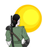 Samurai girl and sun Stock Photography