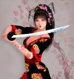 Samurai girl with sword Royalty Free Stock Photography