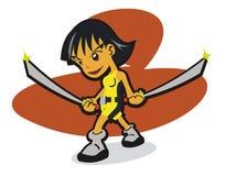 Samurai girl cartoon Royalty Free Stock Photo