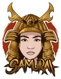 Samurai head woman and samurai text royalty free illustration