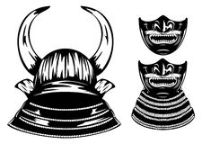 Samurai helmet with horns menpo with yodare-kake Stock Photo