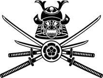 Samurai Helmet and Sword Emblem Royalty Free Stock Photography