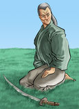 The samurai and his katana Stock Photos