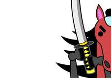 Samurai-horse. Close-up of samurai horse with sword stock illustration
