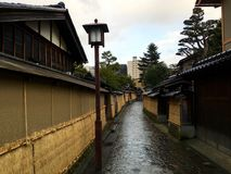 Samurai houses street in Kanazawa Japan Royalty Free Stock Photos