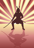 Samurai. Illustration of an armored samurai on light burst background Stock Photography