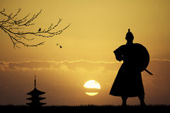 Samurai. Illustration of Samurai at sunset Stock Photo