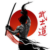 Samurai image. Samurai Bushido - Japanese word for the way of the samurai life Stock Photo