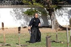 Samurai japonés con la espada del katana Imágenes de archivo libres de regalías
