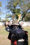 Samurai japonés con la espada del katana Fotografía de archivo