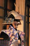 Samurai in jinbaori. Armor of Matsudaira clan, Tosei-gusoku type. On top of the armor worn embellished cape Jinbaori Stock Photo