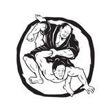 Samurai Jiu Jitsu Judo Fighting Drawing Royalty Free Stock Photography