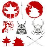 samurai Jogo de elementos do projeto do vetor Fotografia de Stock