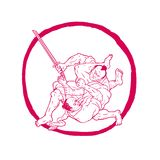 Samurai Jui Jitsu Fighting Enso Drawing Royalty Free Stock Images