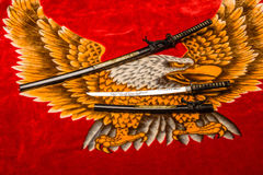 Samurai-Klingen auf Rot Lizenzfreies Stockfoto