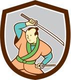 Samurai-Krieger Katana Sword Shield Cartoon Lizenzfreies Stockfoto