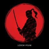 Samurai-Krieger mit Klinge lizenzfreie abbildung