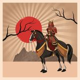 Samurai man cartoon design. Samurai man cartoon on horse with uniform icon. comic and japan culture. Colorful design. Striped background. Vector illustration Royalty Free Stock Images