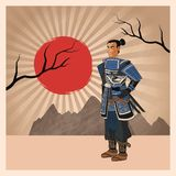 Samurai man cartoon design. Samurai man cartoon with uniform icon. comic and japan culture. Colorful design. Striped background. Vector illustration Royalty Free Stock Photography