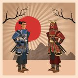 Samurai man cartoon design. Samurai man cartoon with uniform icon. comic and japan culture. Colorful design. Striped background. Vector illustration Royalty Free Stock Photo