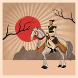 Samurai man cartoon design. Samurai man cartoon on horse with uniform icon. comic and japan culture. Colorful design. Striped background. Vector illustration Stock Images