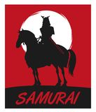 Samurai man cartoon design. Samurai man cartoon on horse with uniform icon. comic and japan culture. Silhouette and frame design. Red night background. Vector Royalty Free Stock Photos