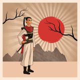 Samurai man cartoon design. Samurai man cartoon with uniform icon. comic and japan culture. Colorful design. Striped background. Vector illustration Royalty Free Stock Images