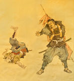 Samurai martial art on old Japanese Traditional painting Stock Images
