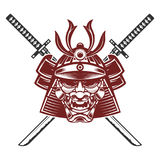 Samurai mask with crossed swords isolated on white background. D Stock Photography
