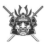 Samurai mask with crossed swords isolated on white background. D Royalty Free Stock Images