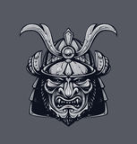 Samurai mask. Monochrome version. Japanese traditional martial mask. Vector EPS 10 illustration Royalty Free Stock Photos