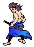 Samurai med svärd Arkivfoto