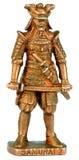Samurai miniature statuette. Bronze miniature statuette of ancient japan samurai warrior over white background Stock Images