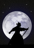 Samurai in the moonlight. Illustration of Samurai in the moonlight Stock Photo
